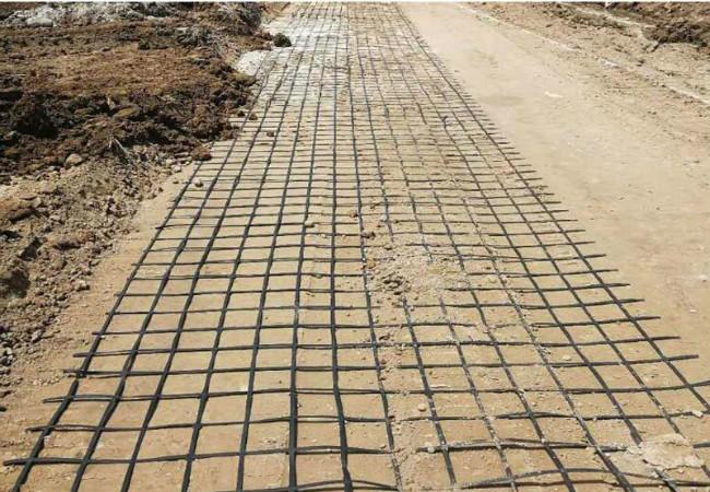 钢塑土工格栅路基铺设展示